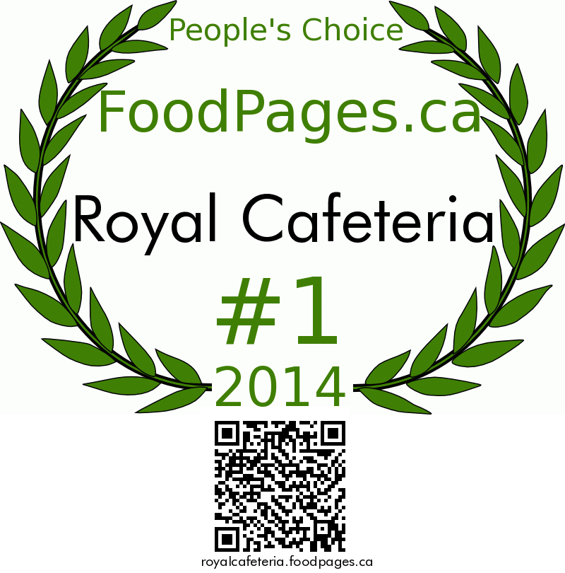 Royal Cafeteria FoodPages.ca 2014 Award Winner